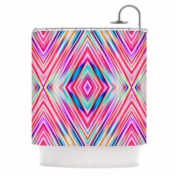 """KESS InHouse Dawid Roc """"Pink Modern Tribal Ethnic Ikat"""" Teal Geometric Shower Curtain (69x70) - 69 x 70"""