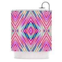 KESS InHouse Dawid Roc Pink Modern Tribal Ethnic Ikat Teal Geometric Shower Curtain (69x70)
