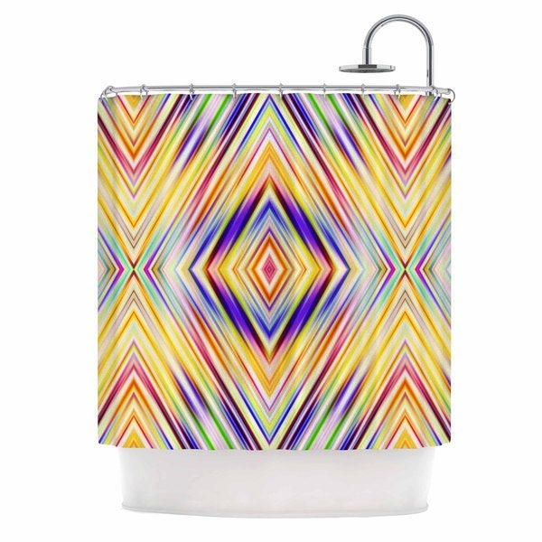 KESS InHouse Dawid Roc Colorful Tribal Ethnic Ikat Yellow Pattern Shower Curtain (69x70)