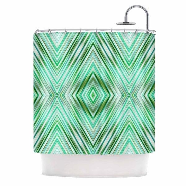 KESS InHouse Dawid Roc Green Mint Modern Ethnic  Green Geometric Shower Curtain (69x70)