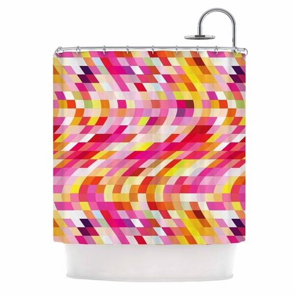 "KESS InHouse Dawid Roc ""Colorful Geometric Movement 2"" Multicolor Geometric Shower Curtain (69x70) - 69 x 70"