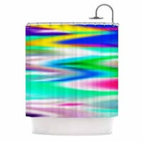 KESS InHouse Dawid Roc Lively Atmosphere Teal Abstract Shower Curtain (69x70)