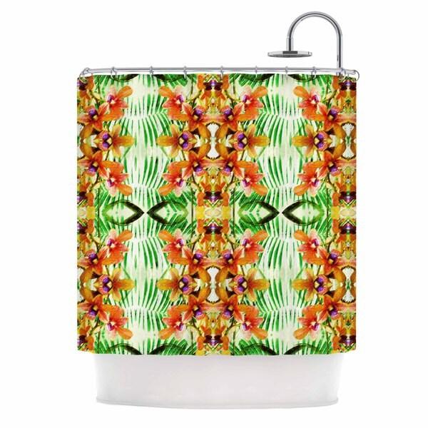KESS InHouse Dawid Roc Tropical Flowers-Palm Leaves Yellow Pattern Shower Curtain (69x70)