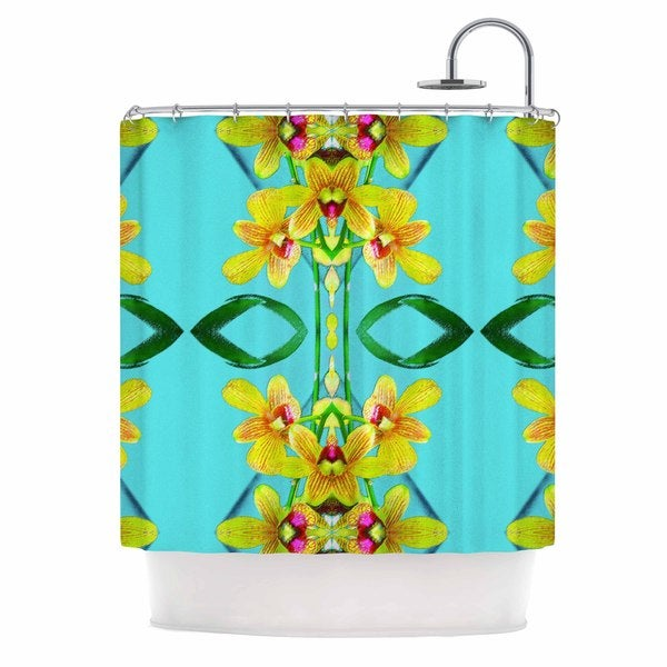 """KESS InHouse Dawid Roc """" Tropical Floral Orchids 3"""" Teal Floral Shower Curtain (69x70) - 69 x 70"""
