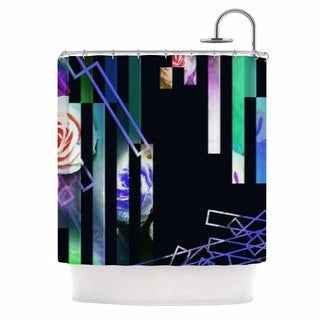 KESS InHouse Dawid Roc Geometric Stripes Abstract Green Stripes Shower Curtain (69x70)