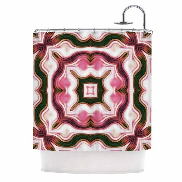 KESS InHouse Dawid Roc Vintage Flower Pattern 1 Pink Abstract Shower Curtain (69x70)