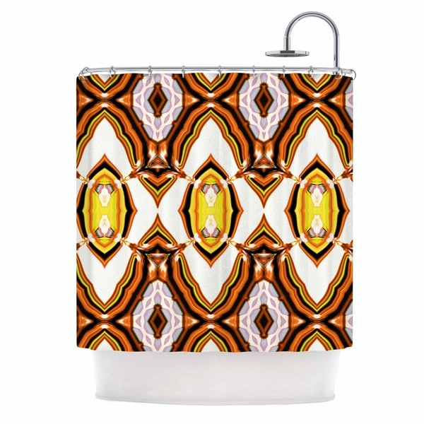 KESS InHouse Dawid Roc Inspired By Psychedelic Art 1 Orange Pattern Shower Curtain (69x70)