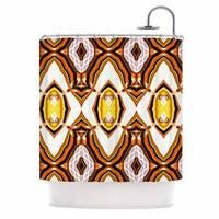 KESS InHouse Dawid Roc Inspired By Psychedelic Art 1 Orange Pattern Shower Curtain (69x70)