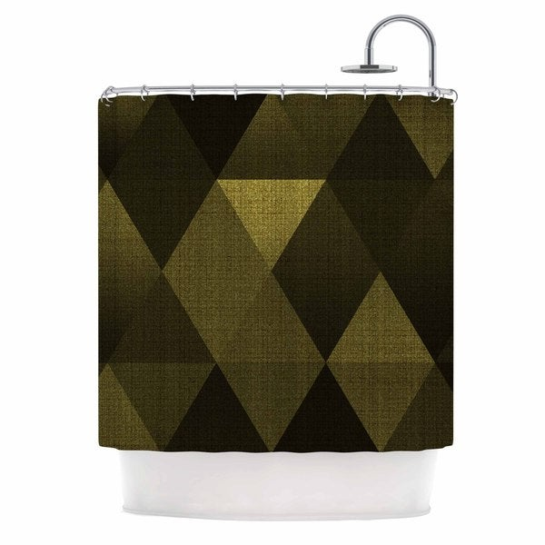KESS InHouse Cvetelina Todorova Golden Triangles Black Yellow Shower Curtain (69x70)