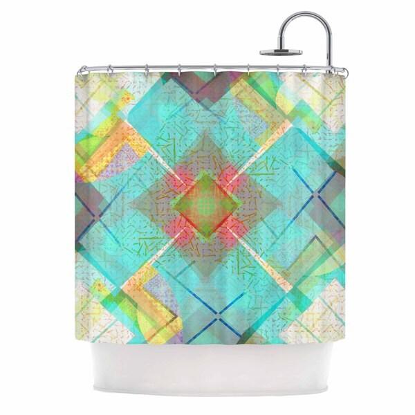 KESS InHouse Cvetelina Todorova Blue Sound Teal Yellow Shower Curtain 69x70