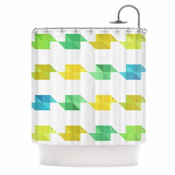 KESS InHouse Cvetelina Todorova Duck Pattern White Teal Green Shower Curtain (69x70)