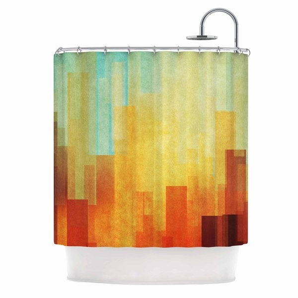 KESS InHouse Cvetelina Todorova Urban Sunset Teal Geometric Shower Curtain (69x70)