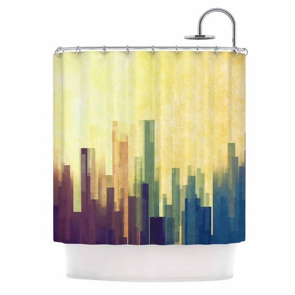KESS InHouse Cvetelina Todorova Cloud City Yellow Purple Shower Curtain (69x70)