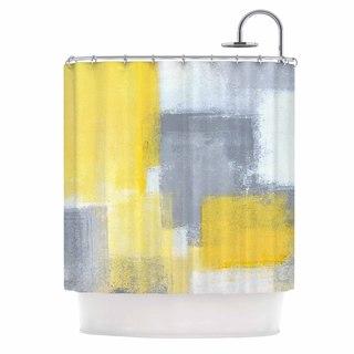 KESS InHouse CarolLynn Tice Steady Yellow Gray Shower Curtain (69x70)