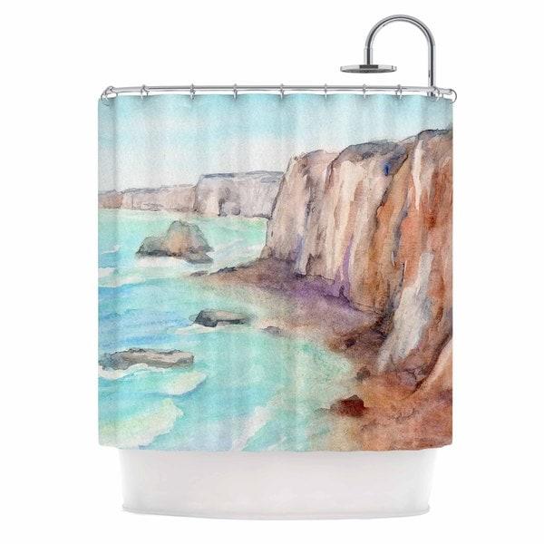 KESS InHouse Cyndi Steen Cliffs At Normandie Blue Travel Shower Curtain (69x70)