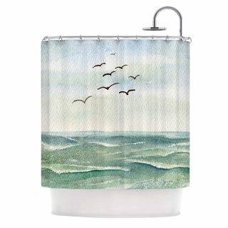 KESS InHouse Cyndi Steen Flock Flying Low Blue Coastal Shower Curtain (69x70)