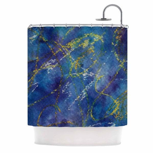 KESS InHouse Cyndi Steen Deep Blue Yellow Abstract Shower Curtain (69x70)