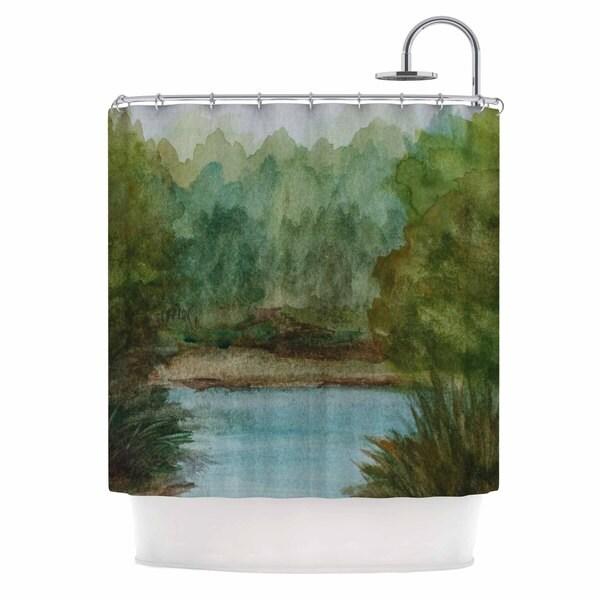 KESS InHouse Cyndi Steen Blue Lake Channel Green Watercolor Shower Curtain (69x70)