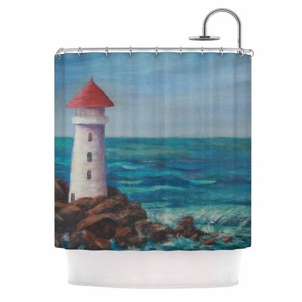 KESS InHouse Cyndi Steen The Lighthouse Rocks Blue Painting Shower Curtain (69x70)