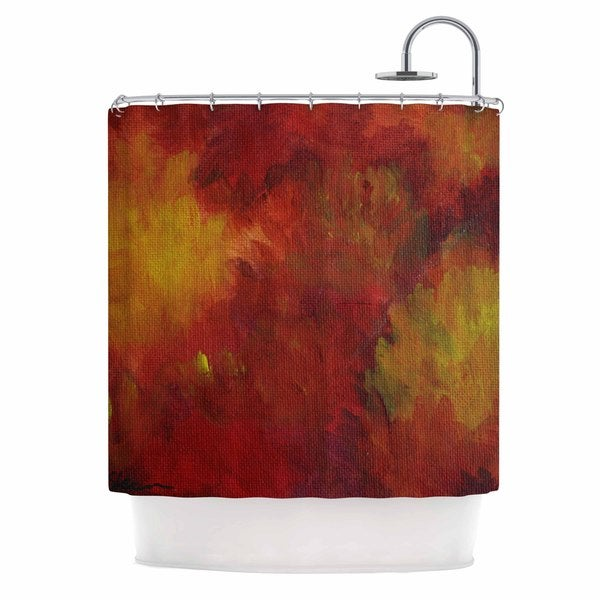 KESS InHouse Cyndi Steen Winsor Flower Red Yellow Shower Curtain (69x70)