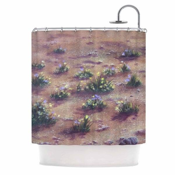 KESS InHouse Cyndi Steen Desert Weeds Tan Lavender Shower Curtain (69x70)