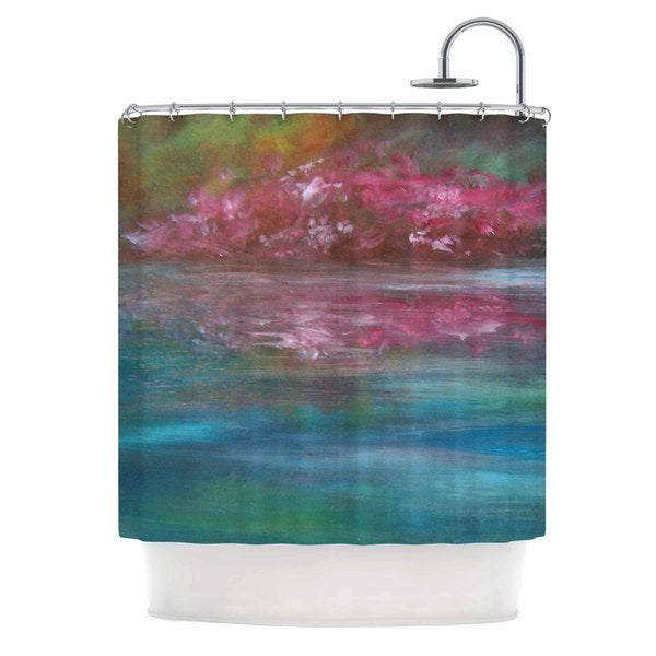 KESS InHouse Cyndi Steen Bougainvillea Reflections Blue Pink Shower Curtain (69x70)