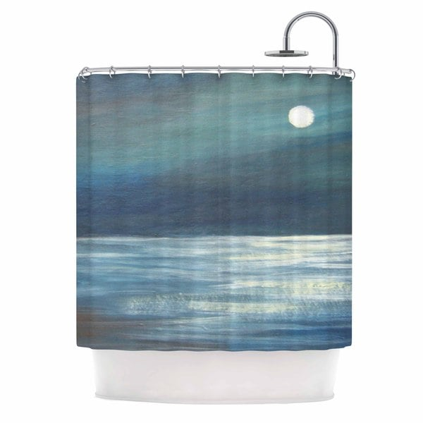 KESS InHouse Cyndi Steen A Walk In The Moonlight Blue White Shower Curtain (69x70)