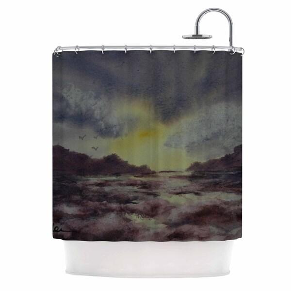KESS InHouse Cyndi Steen Crashing Waves Purple Yellow Shower Curtain (69x70)