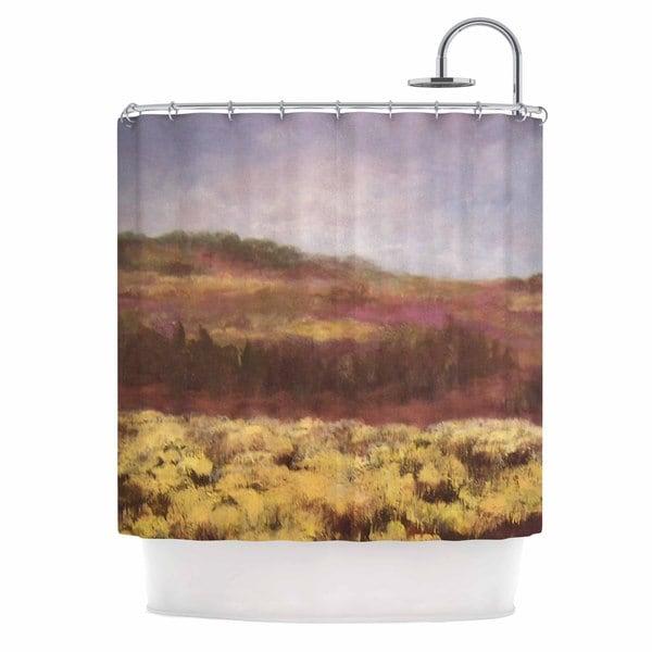 KESS InHouse Cyndi Steen Field Of Yellow Brown Green Shower Curtain (69x70)