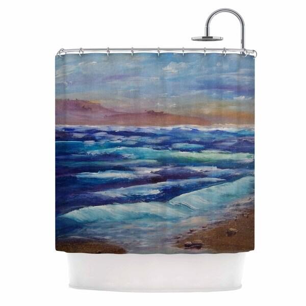 KESS InHouse Cyndi Steen Beach Dreams Blue Brown Shower Curtain (69x70)