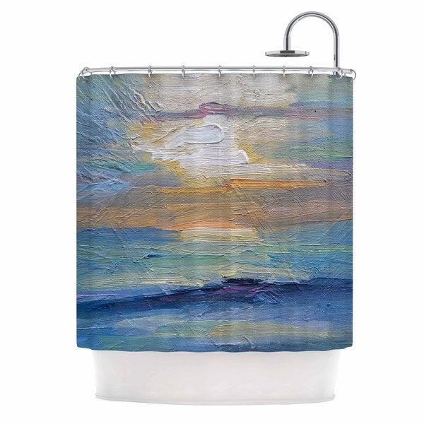 KESS InHouse Carol Schiff Ocean Sunset Blue Coastal Shower Curtain (69x70)