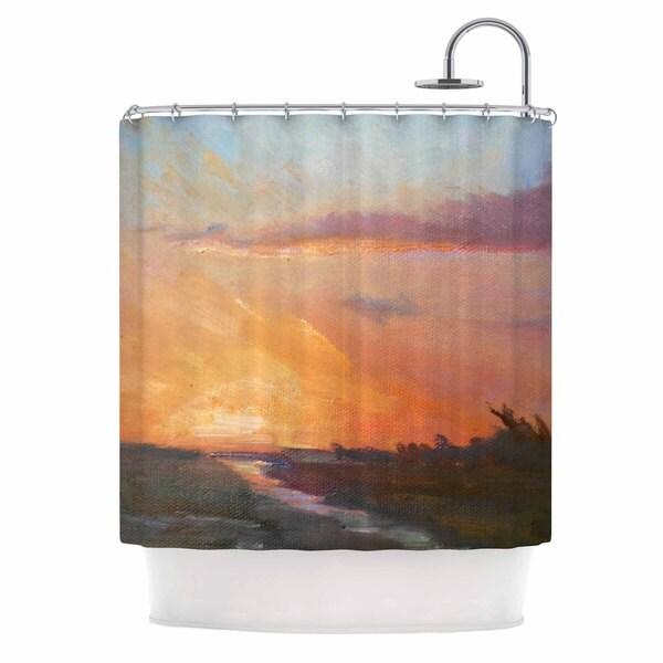 KESS InHouse Carol Schiff Golden Hour Over The Marsh Orange Watercolor Shower Curtain (69x70)