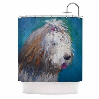 KESS InHouse Carol Schiff Shaggy Dog Story Blue Animals Shower Curtain (69x70)
