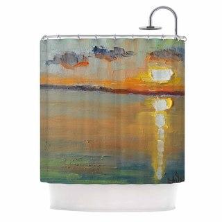 KESS InHouse Carol Schiff Reflections Green Orange Shower Curtain (69x70)