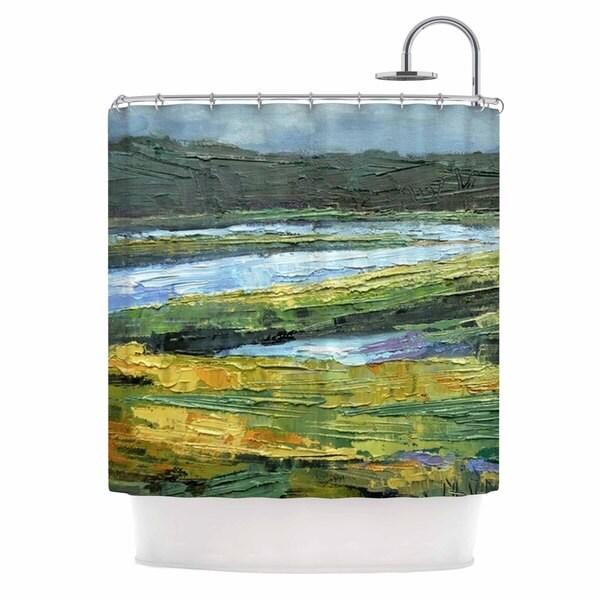 KESS InHouse Carol Schiff Southern Marsh Green Yellow Shower Curtain (69x70)