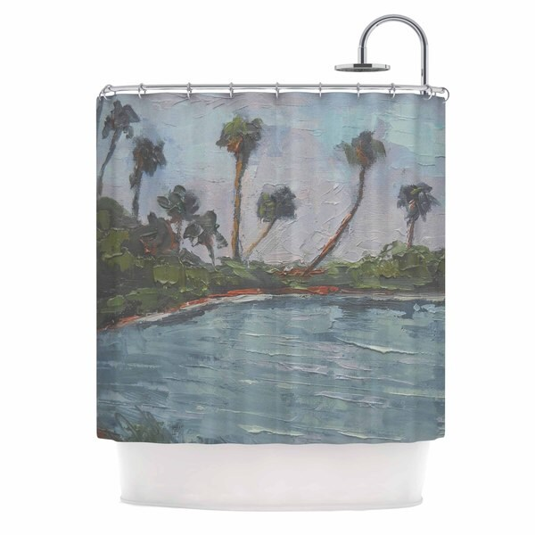 KESS InHouse Carol Schiff Blue Lagoon Aqua Green Shower Curtain (69x70)