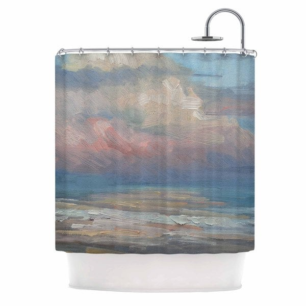 KESS InHouse Carol Schiff Pink Clouds Blue Gray Shower Curtain (69x70)