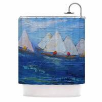 KESS InHouse Carol Schiff Swirls Blue Red Shower Curtain (69x70)