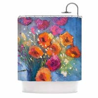KESS InHouse Carol Schiff Roadside Bouquet Orange Blue Shower Curtain (69x70)