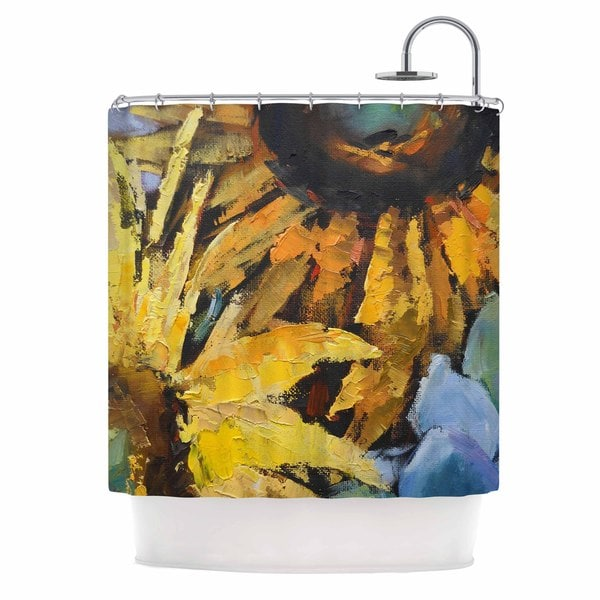 KESS InHouse Carol Schiff Sunflowers And Hydrangea Yellow Floral Shower Curtain (69x70)
