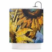 KESS InHouse Carol Schiff Sunflowers And Hydrangea Yellow Floral Shower Curtain (69x70)