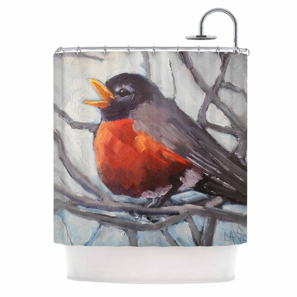 KESS InHouse Carol Schiff Winter Robin Gray Red Shower Curtain 69x70