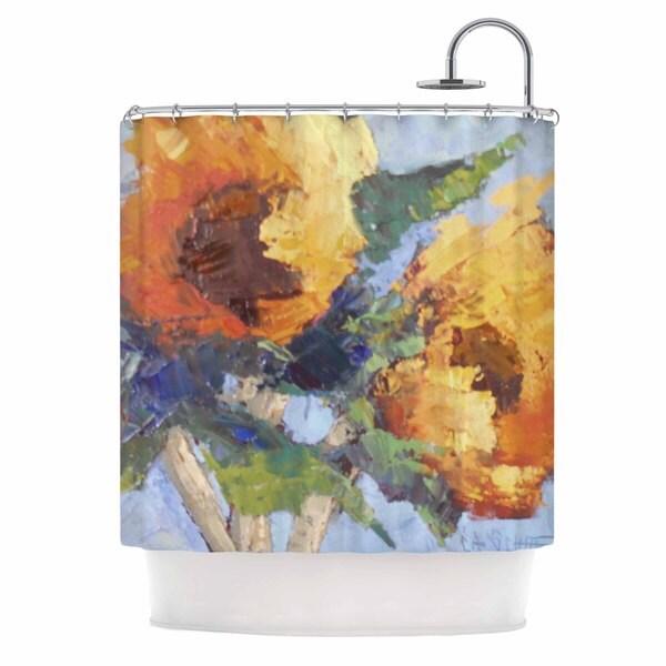 KESS InHouse Carol Schiff Sunflower Trio Yellow Floral Shower Curtain (69x70)