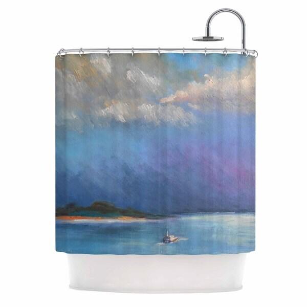 KESS InHouse Carol Schiff Heading Out Blue Nature Shower Curtain (69x70)