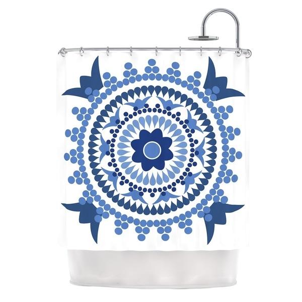 KESS InHouse Carolyn Greifeld Bohemian Blues Blue White Shower Curtain (69x70)