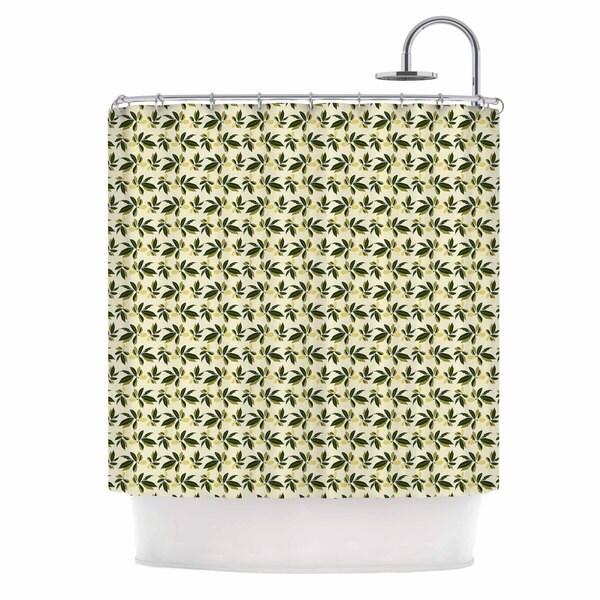 KESS InHouse Mayacoa Studio Pine Cone Yellow Green Shower Curtain (69x70)
