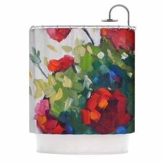 KESS InHouse Carol Schiff Cheerful Geranium Red Painting Shower Curtain (69x70)