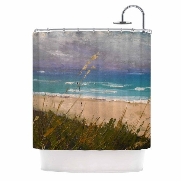 KESS InHouse Carol Schiff Florida Beach Scene Coastal Blue Shower Curtain (69x70)