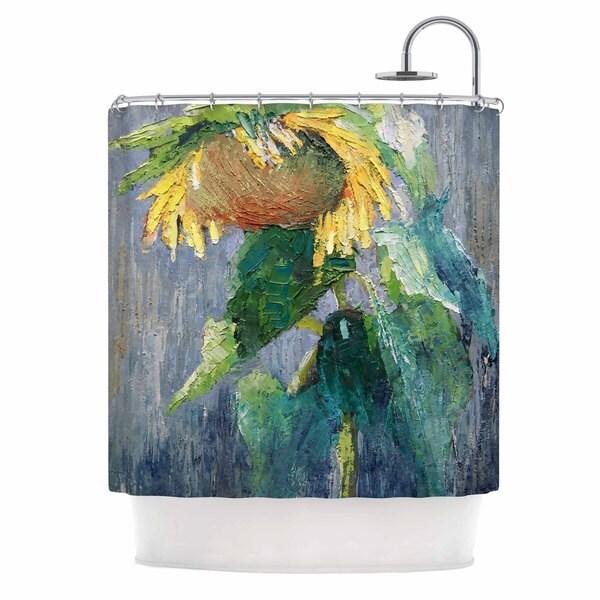 KESS InHouse Carol Schiff Lonely Sunflower Yellow Nature Shower Curtain (69x70)