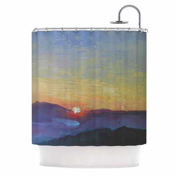 KESS InHouse Carol Schiff Mountain Sunset Orange Nature Shower Curtain (69x70)